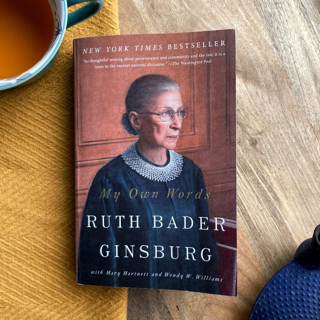 a picture of the cover of my own words by ruth bader ginsburg