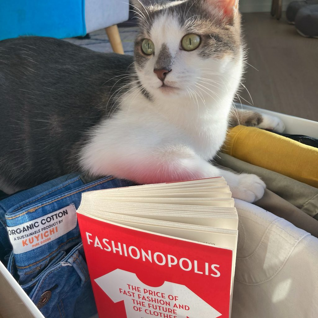 my cat hunky next to the book fashionopolis by dana thomas