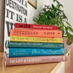 a bookstack with memoirs and other biographical accounts by strong women